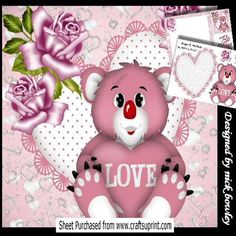 Cute Koala with love heart and pink roses 8x8 mini kit on Craftsuprint - Add To Basket!