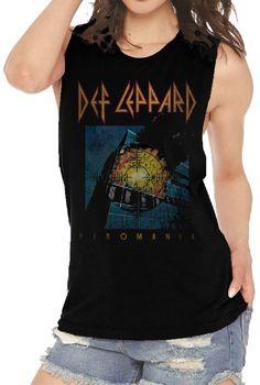 9ff44fdb Def Leppard Sleeveless Fashion T-shirt - Pyromania Album Cover. Women's  Black Vintage Muscle Shirt. Muscle ShirtsRock Of AgesDef LeppardBand ...