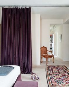 Purple Velvet Curtain I Could Do Something Like That Instead Of A Divider  For My Room