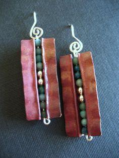 Fold-formed copper earrings Jewelry