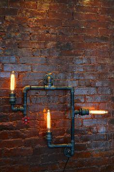 Industrial Steampunk Pipe Wall Light Medium by WestNinthVintage (one Etsy)
