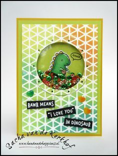 Handmade Happiness (by Sacha) | Lawn Fawn | Rawr | Porthole Frames | Ranger | Distress Oxide Ink | MFT Stamps | Geometric Grid Stencil | Copic Markers | Shaker Card | Love