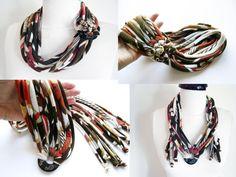 Scarf Necklace, T shirt Scarf, Handmade Scarf, Unique Scarves, African Scarf Necklace, Unique gift for Her, African Women Gifts, Hippie Gift