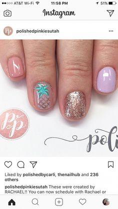 Get Nails, Fancy Nails, Love Nails, Trendy Nails, Hair And Nails, Pineapple Nails, Nail Design Spring, Nails Polish, Manicure E Pedicure