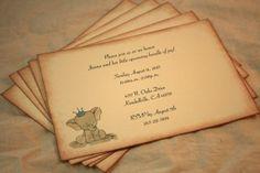 Baby Shower Invitations -  Baby Elephant - Set of 12 - Vintage Baby shower - Crown - Invites on Etsy, $28.80