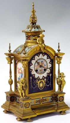 A Century Jewelled Sevres And Champleve Enamel Clocks For Sale, Antique Clocks, Silver Enamel, Decorative Objects, 19th Century, Hickory Dickory, Auction, Bronze, Jewels