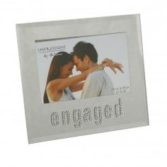 "Glass Picture Frame With Crystals 6x4"" ""Engaged"" €8.95"