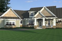 Craftsman Style House Plan - 3 Beds 2.5 Baths 2881 Sq/Ft Plan #51-579 Exterior - Front Elevation - Houseplans.com