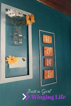 Check out this adorable project! It is super easy and wonderfully cheap! Old frames, mason jar, dollar tree flowers and a cute H.O.M.E sign!
