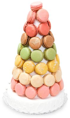Macaron Wedding Cake. Or, in my case, Macaron-Eating Cake. (I, not the cake, will eat the macarons.)