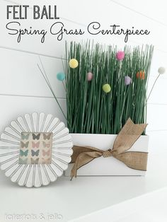Felt Ball Spring Grass Centerpiece! Such a cute and easy idea for Spring. -- Tatertots and Jello