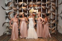 Pretty gold/dusty rose bridesmaid dresses!