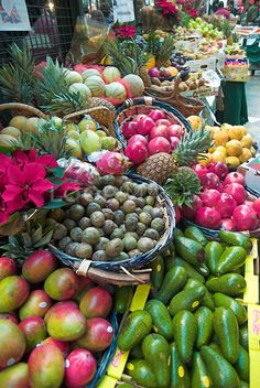Fruit and vegetables on sale at Borough Market, London, UK