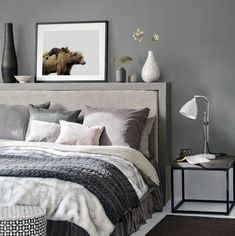 White and grey bedding ideas grey bedroom ideas cosy bedroom ideas for a restful retreat yellow . white and grey bedding ideas Dark Gray Bedroom, Grey Bedroom Design, Grey Bedroom With Pop Of Color, Grey Bedroom Decor, Grey Bedroom Furniture, Grey Room, Trendy Bedroom, Modern Bedroom, Bedroom Designs