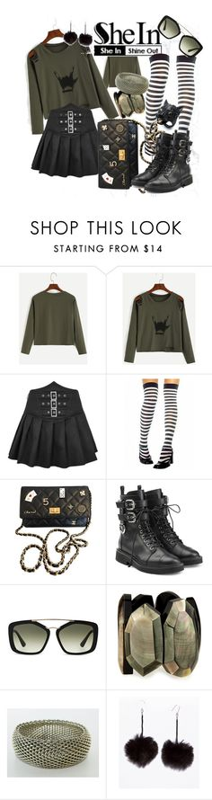 """""""The Slight Rebel - Army Green Print Distressed T-Shirt by She In"""" by honey18rdm on Polyvore featuring Chanel, Giuseppe Zanotti, Prada, Viktoria Hayman, Tiffany & Co. and Alexis Bittar"""