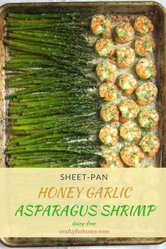 Sheet Pan Honey Garlic Shrimp Asparagus, quick and easy shrimp and asparagus recipe Pan Asparagus, Shrimp And Asparagus, Asparagus Recipe, Garlic Shrimp, Cooking Recipes, Healthy Recipes, Easy Recipes, Healthy Eats, Popular Recipes