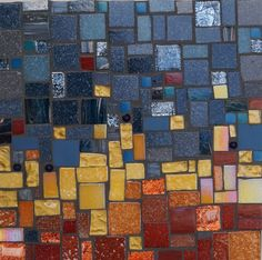 'Skyscape' (2014) 20 x 20cm, Glass tiles and beads. Rachel Evans Mosaics www.rachelevansmosaics.com Text and images ©2010-2015 Rachel Evans Mosaics, All Rights Reserved No content from this site may be reproduced without express permission from Rachel Evans Mosaics
