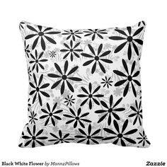 Shop Black White Flower Throw Pillow created by MannzPillows. Flower Pillow, White Flowers, Home Accessories, Bedroom Decor, Cushions, Throw Pillows, Black And White, Design, Home Decor