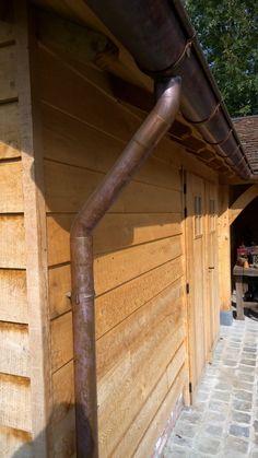 Oak wood pool house copper gutter detail