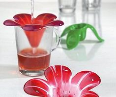 Colorful Tea Accessories and Audrey Murano Glass Tea Strainer for Koziol - At Home with Kim Vallee Tea Strainer, Tea Infuser, Chai, Design3000, Used Tea Bags, Buy Tea, Flower Tea, How To Make Tea, Packaging