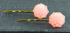 Dahlia Flower Bobby Pins Pink Brass by TheCraftyPandaGirl on Etsy, $10.00