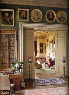 From The Scottish Country House Photo By James Fennell Lochinch Castle Green Oushak Rug In Drawing Room