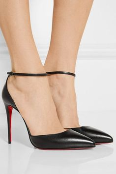 Heel measures approximately 100mm/ 4 inches Black leather Buckle-fastening ankle strap Made in Italy