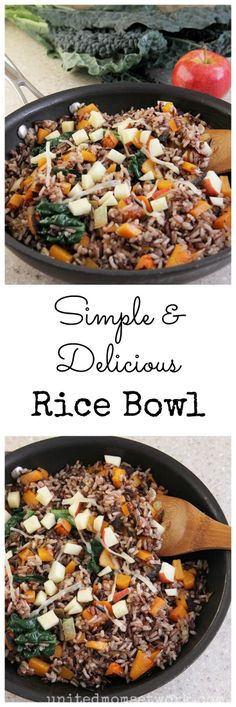Delicious Rice Bowl With Squash, Kale, Apples, And Wild Rice