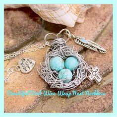 Beautiful Wire Wrap Bird's Nest Necklace W/ Charms , Sterling Sliver 925 Chain ,Handmade By: Tranquilityy ( Free gift box )