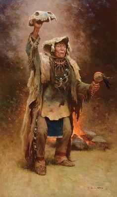 Z.S. Liang - Bear Medicine Man Crow   Oil kp