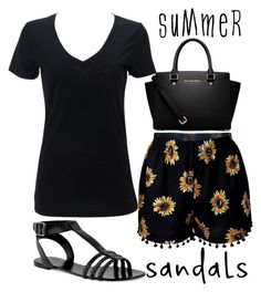 """""""summer, shorts & sandals"""" by j-n-a ❤ liked on Polyvore featuring CHARLES & KEITH, MICHAEL Michael Kors and summersandals"""