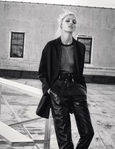 Anja Rubik wears a mix mesh tops and leather pieces stars in Iro spring summer 2016 campaign