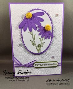 Daisy Lane by Stampin' Up! Eyelet Lace Embossing Folder by Stampin' Up! Anna Griffin Cards, Cards For Friends, Watercolor Cards, Sympathy Cards, Stamping Up, Flower Cards, Anniversary Cards, Greeting Cards Handmade, Homemade Cards