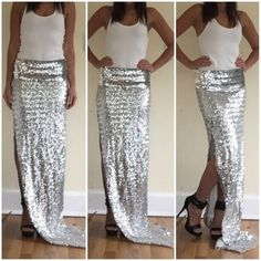 "Silver sequin maxi skirt The skirt has a unfinished top,bottom and slit - see picture. The waist is slightly stretchy . Can fit a small - medium waist not stretched 12"" total skirt length 53"" ❌ sorry no trades - price is firm even if bundled ❌ Skirts Maxi"