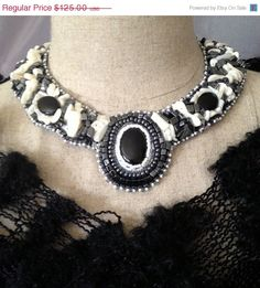 ON SALE Bead Embroidered Collar Black Onyx by bjswearableart, $75.00