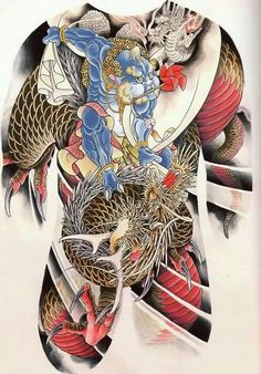 fugu-suicide: Horigyn - dragon and fujin - scan from Spit Spit Spit. Full Body Tattoo, Body Art Tattoos, Cool Tattoos, Tatuajes Irezumi, Irezumi Tattoos, Japanese Tattoo Art, Japanese Tattoo Designs, Tattoo Pain, Back Tattoo