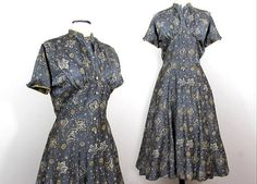 R&K gray paisley dress with flared skirt and rhinestone