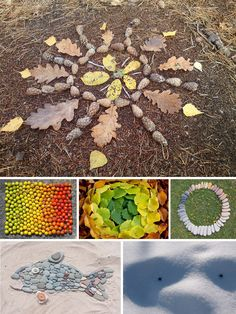 Finding different materials in nature and making art. I think this idea is a good way for children to find out how different materials interact with each other.