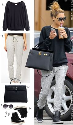 Dress by Number: Naya Rivera's Black Sweatshirt and Gray Sweatpants