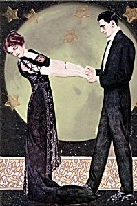 Coles Phillips image of elegent couple dancing under a huge full moon, Print is from an Original handmade mixed media collage. Vintage images, copyright 2011