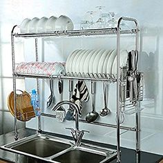 Amazon.com: NEX 2-Tier Stainless Steel Dish Rack Nonslip Height Adjustable with Chopstick Holder (Double Groove): Kitchen & Dining