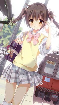 anime school girl in uniform brown hair in pigtails