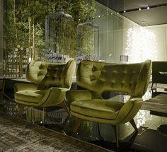 Roberto Cavalli Green Armchairs #KingsofChelsea #DesignInspiration #LuxuryInteriors
