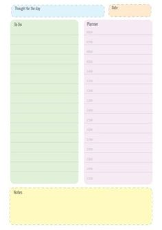 Add your schedule, set your goals and plan your day. Colour Block, Color Blocking, Daily Planners, Set Your Goals, Planning Your Day, Planner Template, Pretty Pastel, How To Stay Motivated, Getting Organized