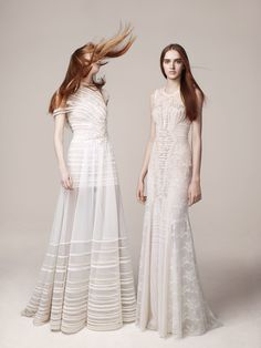 Floor length white couture gowns