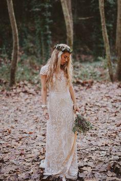 Lace bohemian wedding dress