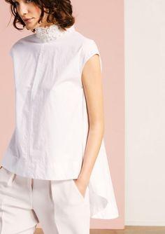 Top col recouverts de perles en coton blanc