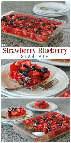 Strawberry Pie Recipe - Slab pie with fresh strawberries and blueberries. Best Strawberry Pie with Jello. Blueberry Desserts, Köstliche Desserts, Delicious Desserts, Yummy Food, Alcoholic Desserts, Healthy Food, Alcoholic Shots, Healthy Eating, Strawberry Jello Pie