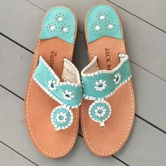 Jack Rogers Navajo Blue Suede/White Sandals Never worn! Perfect condition Jack Roger's sandal Shoes Sandals