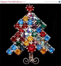 SALE Vintage Czech Christmas Tree Pin by TheJewelryLadysStore, $17.85